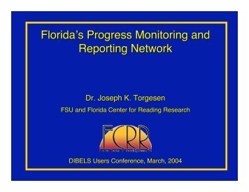 Florida's Progress Monitoring and Reporting Network