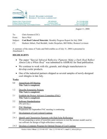 Monthly Progress Report 2004 07 [format: PDF]   The Cool Colors .  Format Of A Progress Report