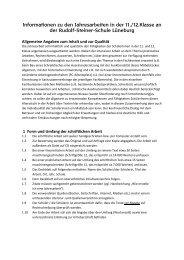 Informationen zu den Jahresarbeiten - Rudolf Steiner Schule ...