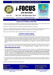 Bulletin 1761 - Rotary Club of Stirling