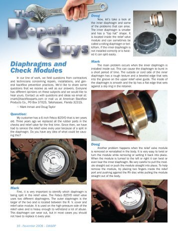 Diaphragms and Check Modules - Drinking Water & Backflow ...