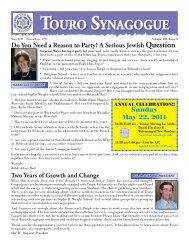 May 2011 Bulletin - Touro Synagogue