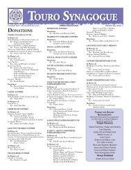 October 2011 Bulletin Extra - Touro Synagogue