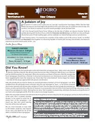the October Bulletin - Touro Synagogue