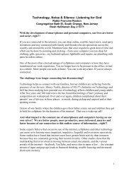 Rosh Hashanah 5771 2nd Day Sermon - Technology, Noise & Silence