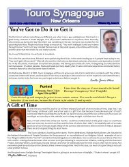 the complete March Bulletin. - Touro Synagogue