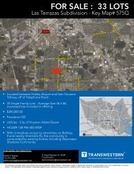 FOR SALE : 33 LOTS - Transwestern