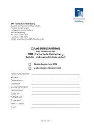 ZULASSUNGSANTRAG SRH Hochschule Heidelberg - Sky Lounge