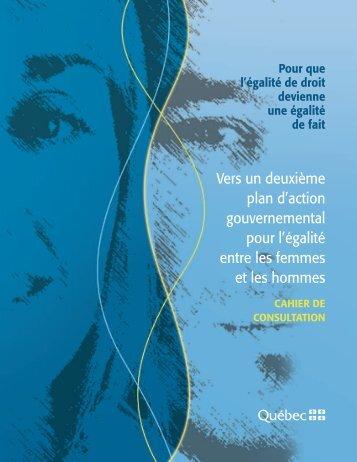 Vers un deuxième plan d'action gouvernemental pour l'égalité entre ...