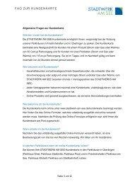 FAQ ZUR KUNDENKARTE - Stadtwerk am See