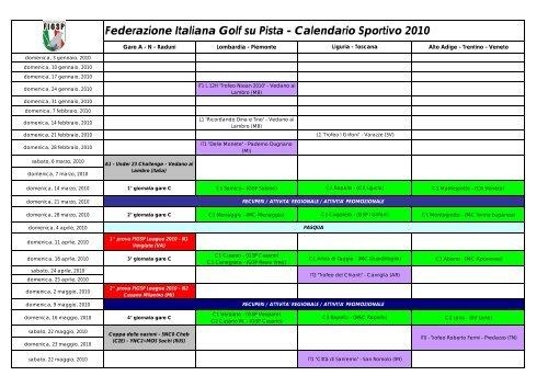 Calendario Sportivo.Federazione Italiana Golf Su Pista Calendario Sportivo 2010