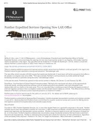 Panther Expedited Services Opening New LAX Office – June 2013