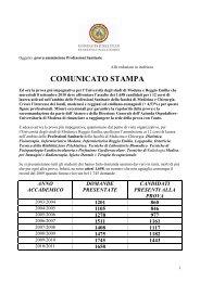 analisi domande professioni sanitarie 2010 - Policlinico di Modena