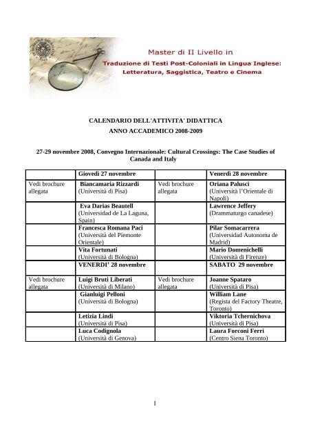 Calendario Traduzione Inglese.Master In Traduzione Di Testi Post Coloniali In Lingua Inglese