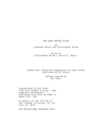 The Dark Knight Rises Script - The Sports Hero