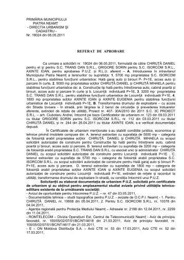 referat de aprobare - Primaria Piatra-Neamţ