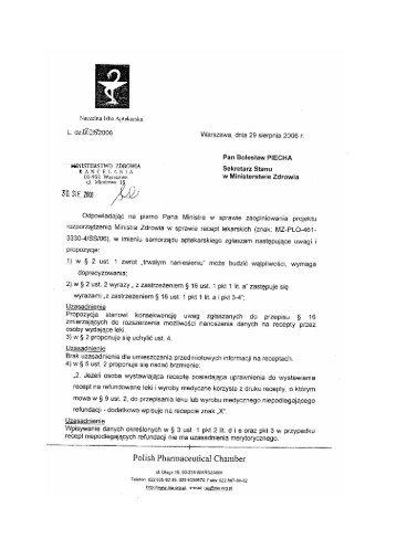 'HNISTERSTWO ZDROWM Sekretarz Stanu - Naczelna Izba ...