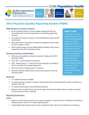2012 Physician Quality Reporting System (PQRS) - The Carolinas ...