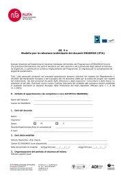 All. V e Modello per la relazione individuale dei docenti ERASMUS ...