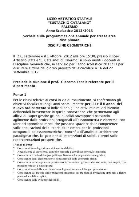progettazione generale 2012-13 - Liceo Artistico Statale Catalano