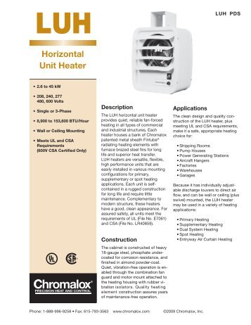 luh product data sheet chromalox precision heat and control?quality=85 horizontal unit heater chromalox precision heat and control chromalox luh wiring diagram at edmiracle.co