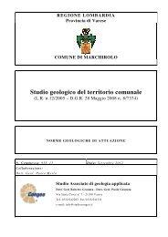 Studio geologico del territorio comunale - Comune di Marchirolo