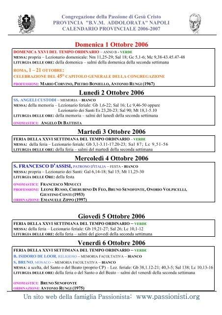 Onomastici Calendario.Congregazione Della Passi