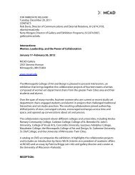 PDF Version of the press release - Minneapolis College of Art and ...