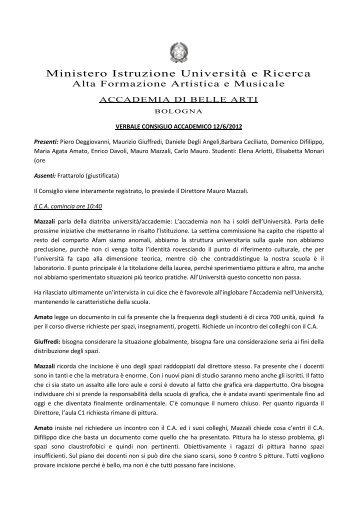 n. 11. del 12 giugno 2012 - Accademia di Belle Arti Bologna