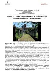 Master di I° livello in Conservazione, manutenzione e restauro delle ...