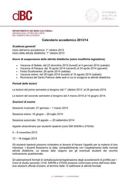 Unipd Calendario.Calendario Accademico 2013 14 Dipartimento Dei Beni Culturali