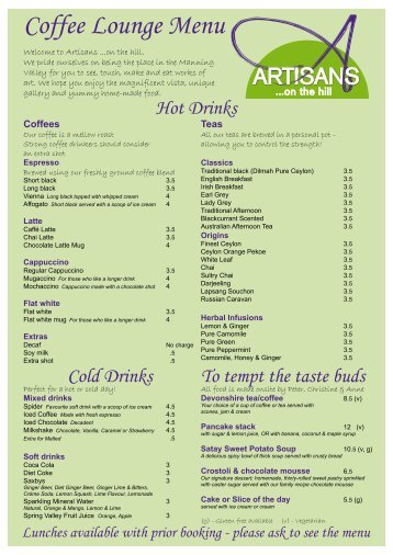 Coffee Lounge Menu - Artisans On The Hill