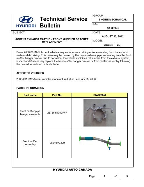 Marvelous Technical Service Bulletin Hyundai Canada Wiring Database Gentotyuccorg