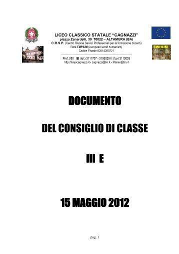 documento documento del consiglio di classe iii e 15 maggio 201 ...