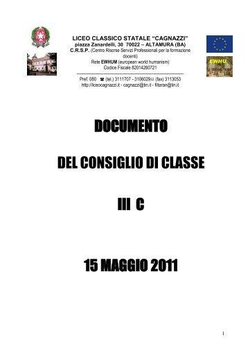 DOCUMENTO DEL CONSIGLIO DI CLASSE III C 15 MAGGIO 2011