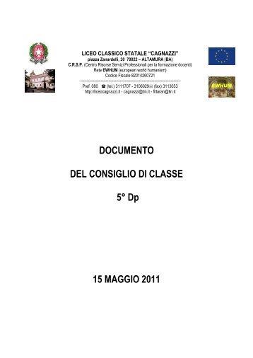 DOCUMENTO DEL CONSIGLIO DI CLASSE 5° Dp 15 MAGGIO 2011