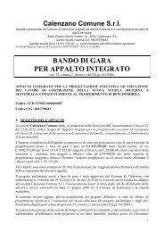 Bando gara appalto integrato - Comune di Calenzano