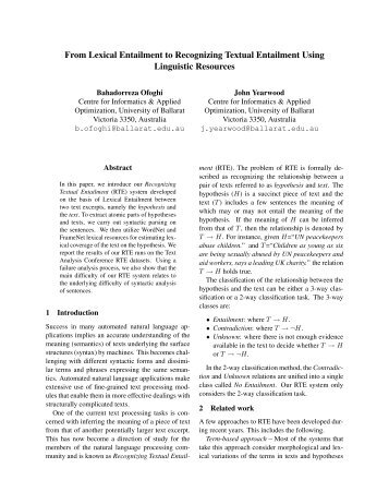 From Lexical Entailment to Recognizing Textual Entailment Using ...