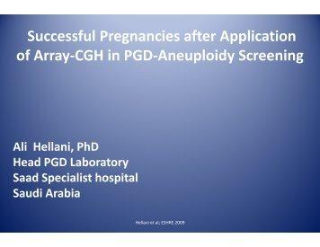 Successful Pregnancies after Application of Array-CGH in ... - eshre