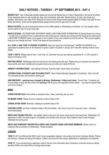 DAILY NOTICES – TUESDAY – 3RD SEPTEMBER 2013 – DAY 4