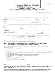 Modulo per iscrizione al primo anno del Corso di Restauro 2013/2014
