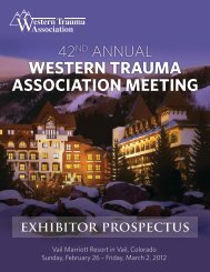 WESTERN TRAUMA ASSOCIATION MEETING exhibitor prospectus