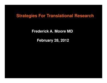 Strategies For Translational Research - Western Trauma Association