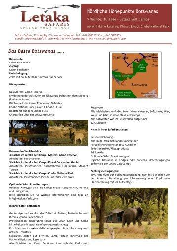 Nördliche Höhepunkte Botswanas Das Beste ... - Letaka Safaris