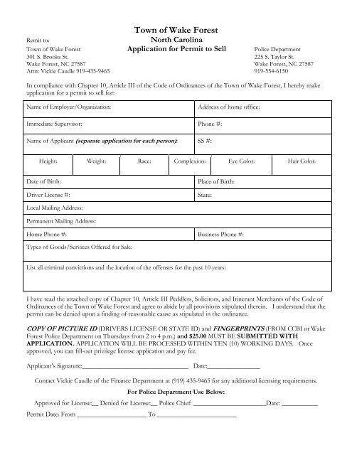 background check form - Town of Wake Forest, NC