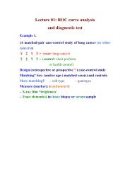 Lecture 01: ROC curve analysis and diagnostic test