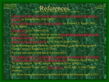 Turin Shroud Presentation: References - ShroudNM.com