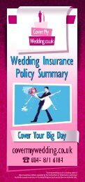 Covermywedding.co.uk is a trading name of Blue Insurances ...