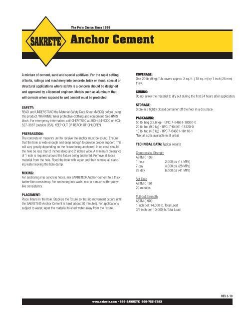 Sakrete Anchor Cement Tech Data 3-10 indd