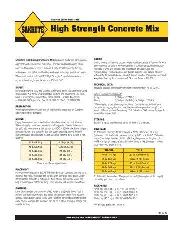 5000 Plus High Strength Concrete Mix Sakrete Datasheet